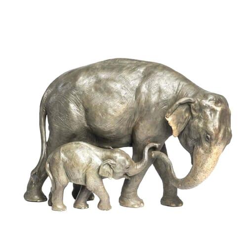 Bronze Asian Elephants Sculpture