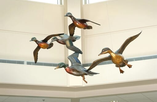 Bronze Beavers and Ducks Monument Sculpture-2