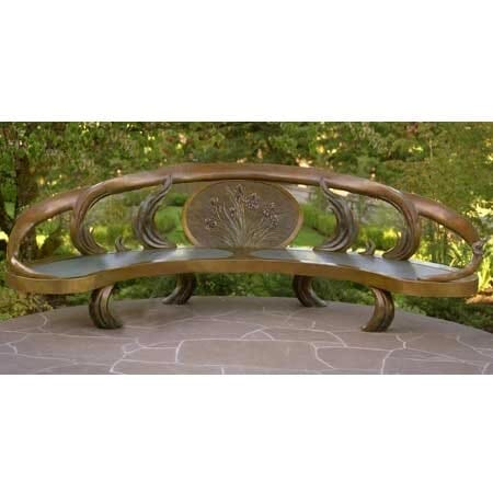 Bronze Bench Sculpture - Iris Bench