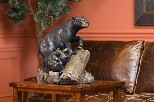 Bronze Black Bears Sculpture-3