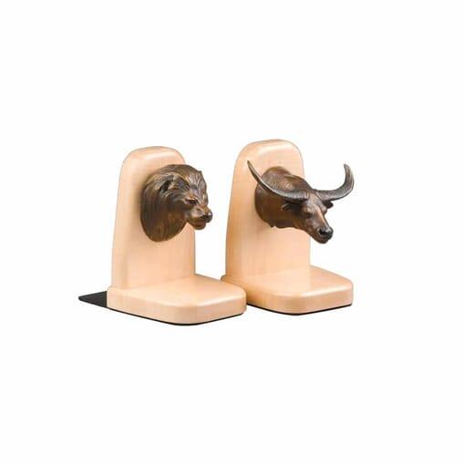 Bronze Bookends - Lion-Buffalo