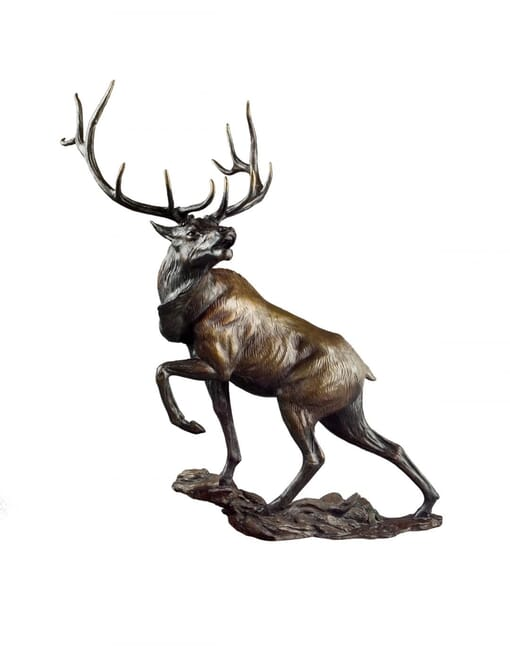 Bronze Bull Elk Sculpture - Challenge Accepted