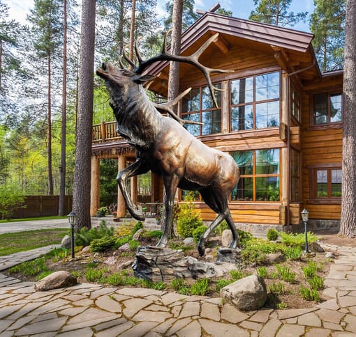 Bronze Bull Elk Sculpture - Rival's Response-1