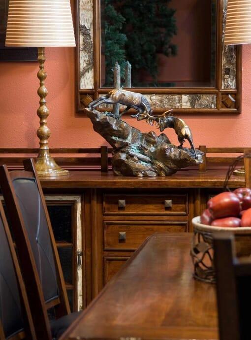 Bronze Bull Elk Sculpture - The Battle-1