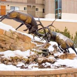 Bronze Bull Elk Sculpture - The Battle-4
