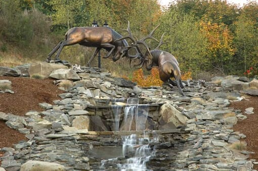 Bronze Bull Elk Sculpture - The Battle-5