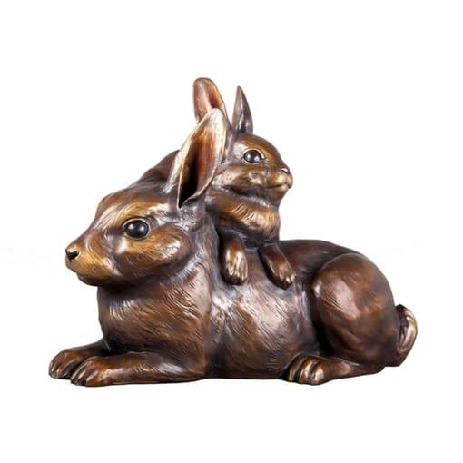 Bronze Cottontail Rabbits Sculpture