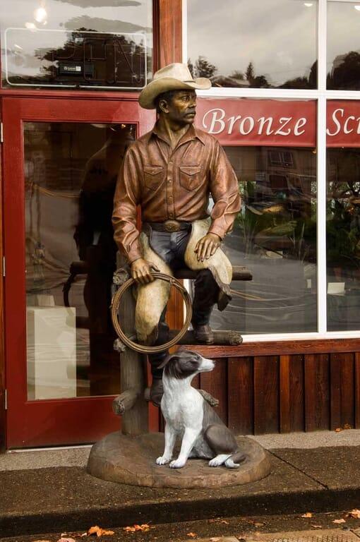 Bronze Cowboy and Dog Sculpture-2