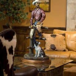 Bronze Cowboy and Dog Sculpture-3
