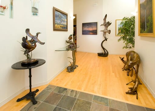 Bronze Doe and Fawns Sculpture-2