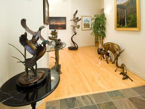 Bronze Doe and Fawns Sculpture-3