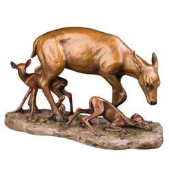 Bronze Doe and Fawns Sculpture