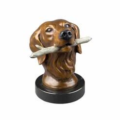Bronze Dog Sculpture - Bringing It Home