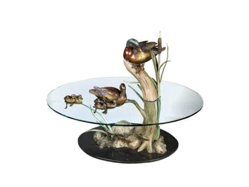 Bronze Duck Pond Glass Table - Family Ties