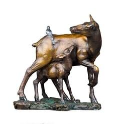 Bronze-Elk-Calf-and-Bird-Sculpture