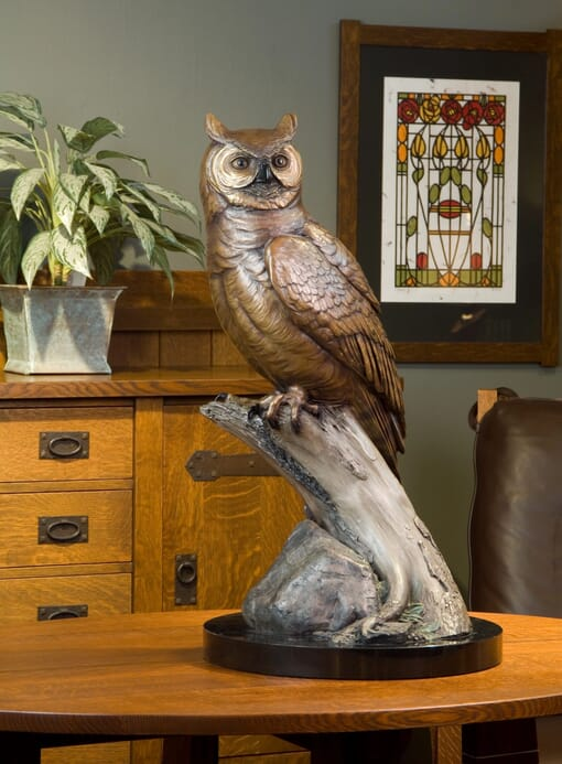 Bronze Great Horned Owl Sculpture-1