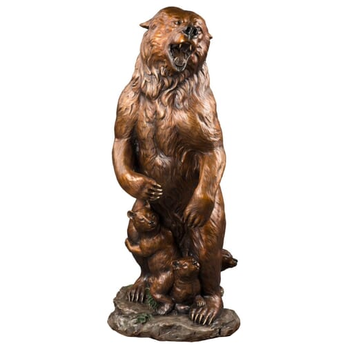 Bronze Grizzly Bear and Cubs Sculpture