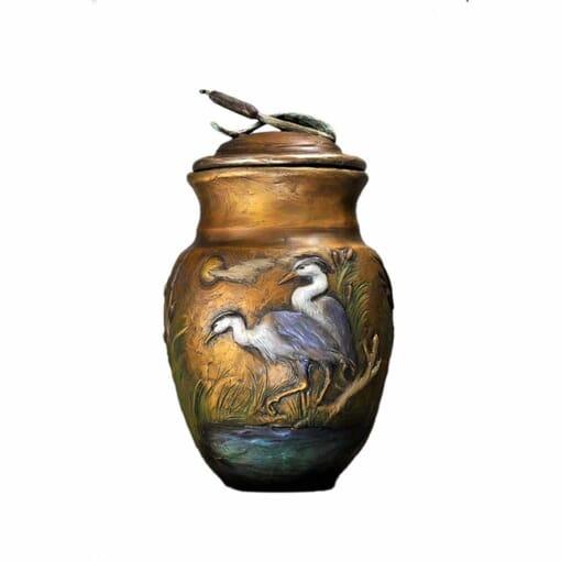 Bronze Heron Vase Sculpture
