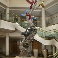 Bronze Jaguar and Macaws Sculpture-1
