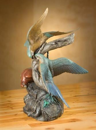 Bronze Macaws Sculpture-1