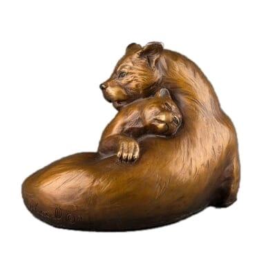 Bronze Mountain Lion and Cub Sculpture-1
