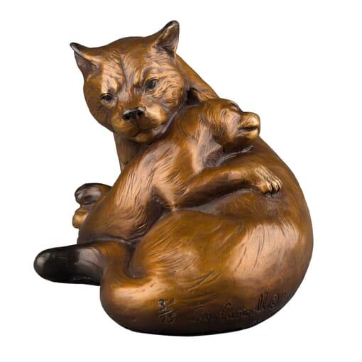 Bronze Mountain Lion and Cub Sculpture