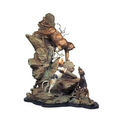 Bronze Mountain Lion and Dogs Sculpture