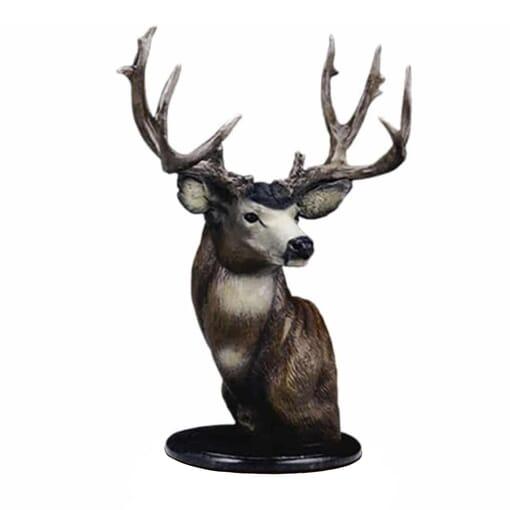 Bronze Mule Deer Bust Sculpture
