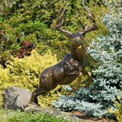 Bronze Mule Deer Sculpture - Woodland Dash-1
