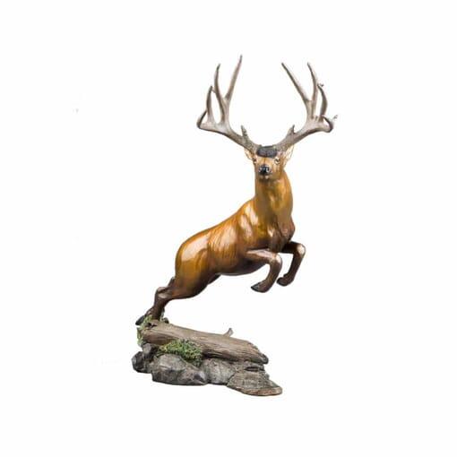 Bronze Mule Deer Sculpture - Woodland Dash