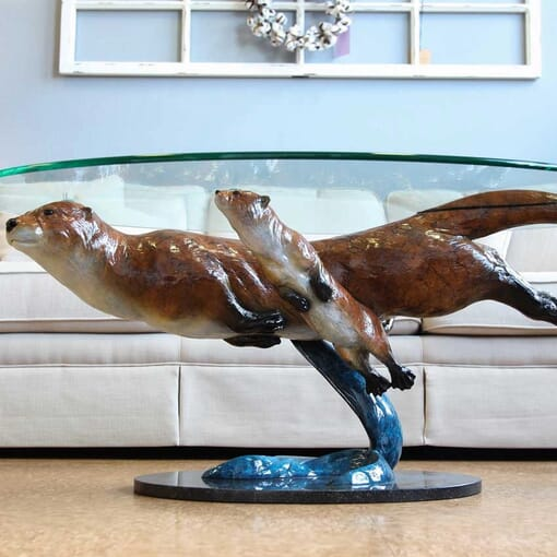 Bronze Otters Glass Coffee Table-1