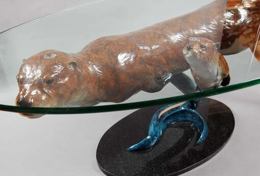 Bronze Otters Glass Coffee Table-3