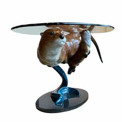 Bronze Otters Glass Coffee Table