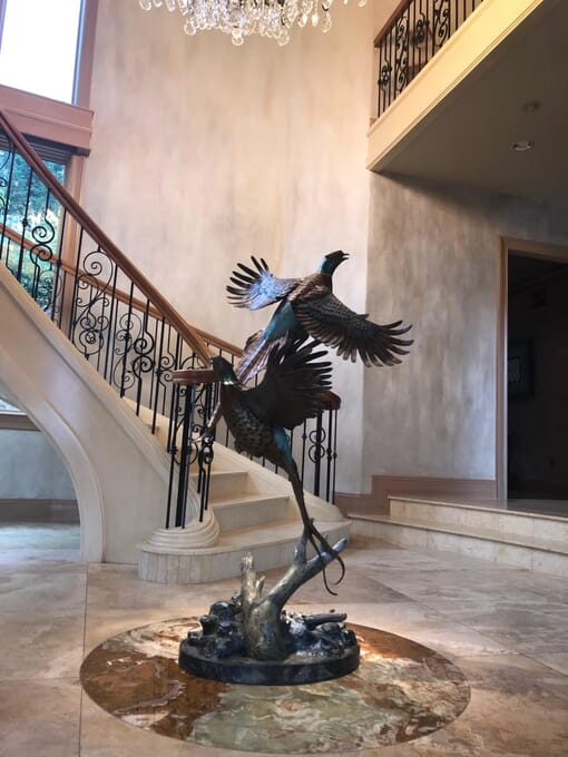 Bronze Pheasants Sculpture-3