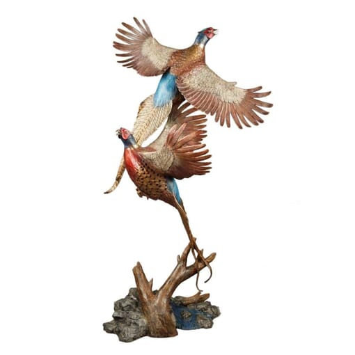 Bronze Pheasants Sculpture