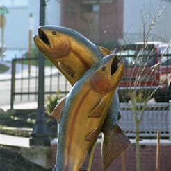 Bronze Rainbow Trout Pair Sculpture-1