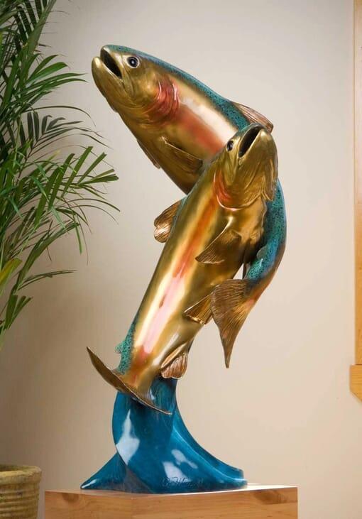 Bronze Rainbow Trout Pair Sculpture-3