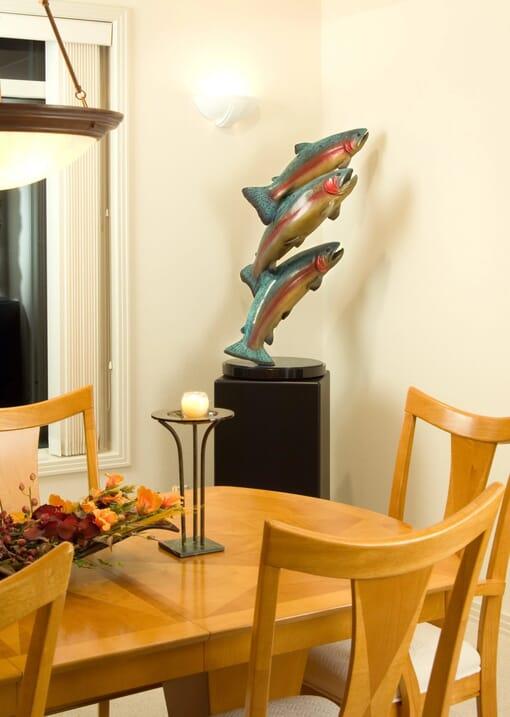 Bronze Rainbow Trout Sculpture - Upriver Challenge-1