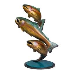 Bronze Rainbow Trout Sculpture - Upriver Challenge
