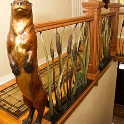 Bronze River Otter Sculpture - Scout-1