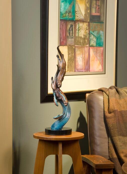 Bronze River Otters Sculpture - Swift Pursuit-mini