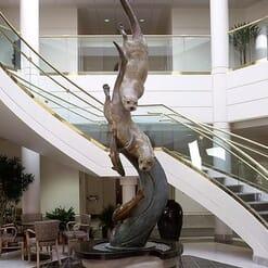 Bronze River Otters Sculpture - Swift Pursuit-monument