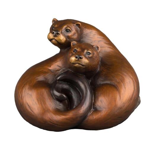 Bronze River Otters Sculpture