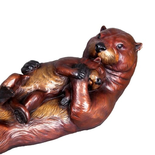 Bronze Sea Otter and Pup Sculpture-1