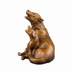 Bronze Wolf and Cub Sculpture