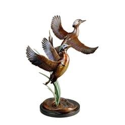 Bronze Wood Ducks Sculpture - Splash of Color