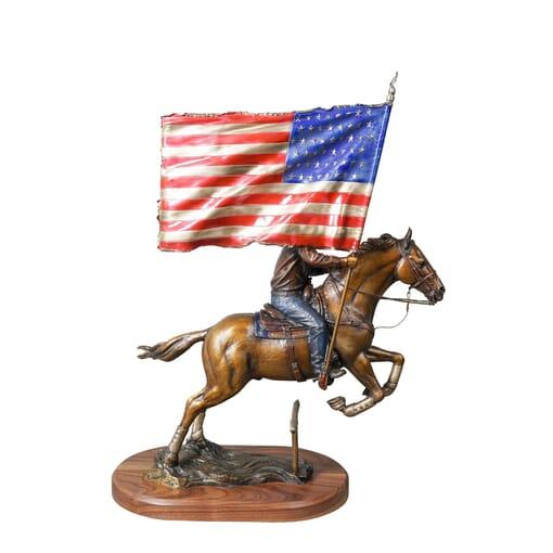 Cowboy with Horse Bronze Sculpture-2