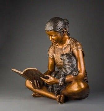 Girl with Cat Bronze Sculpture-1