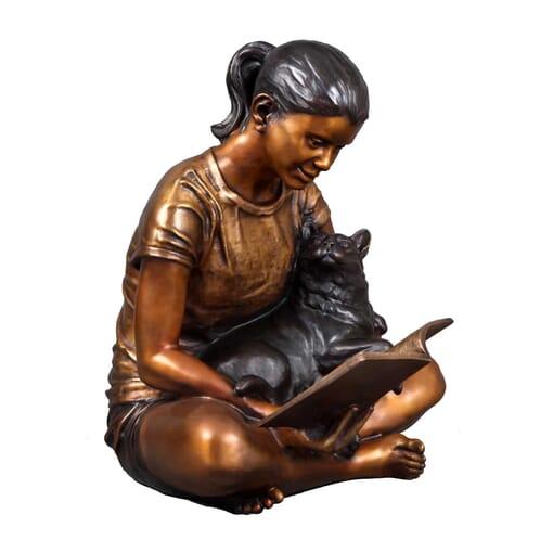Girl with Cat Bronze Sculpture