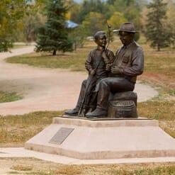 Grandfather and Grandson Bronze Sculpture-2